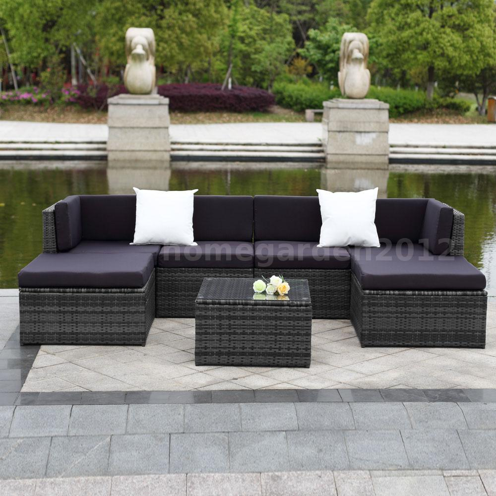 7X CUSHIONED OUTDOOR PATIO GARDEN FURNITURE SOFA COUCH SET ...