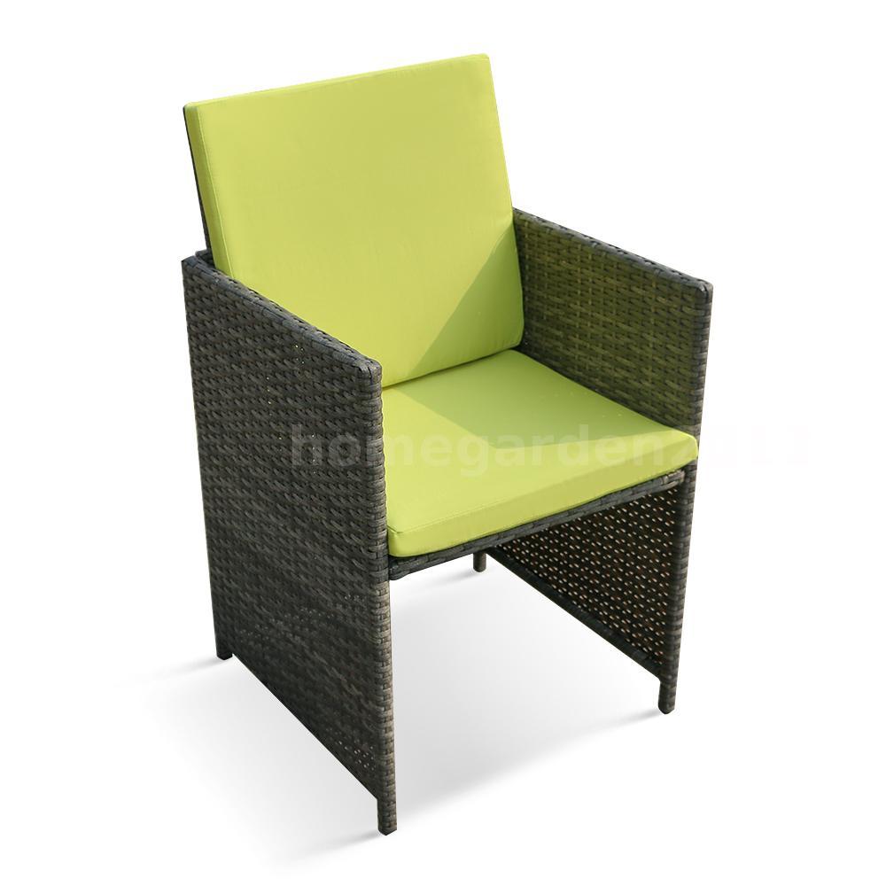ikayaa 9pcs rattan garten esstisch st hle set gr n sitzkissen gartenm bel set ebay. Black Bedroom Furniture Sets. Home Design Ideas