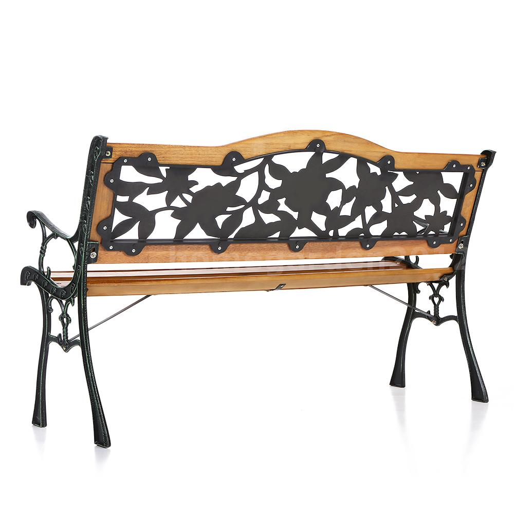 Ikayaa 126cm Cast Iron Wooden Patio Park Bench Garden Furniture Lawn Chair Y4t9 Ebay