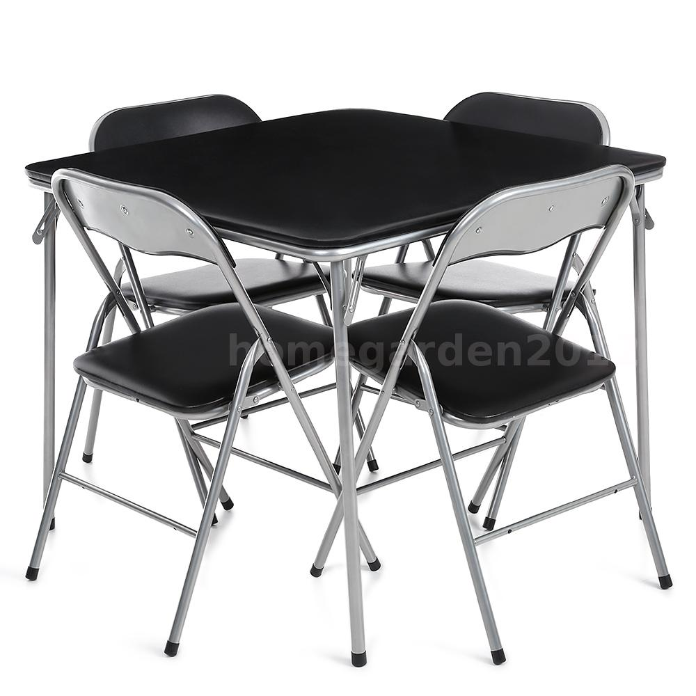 campingtisch set w 4 st hlen klappm bel st hle tisch stuhl faltbar schwarz g5y0 ebay. Black Bedroom Furniture Sets. Home Design Ideas