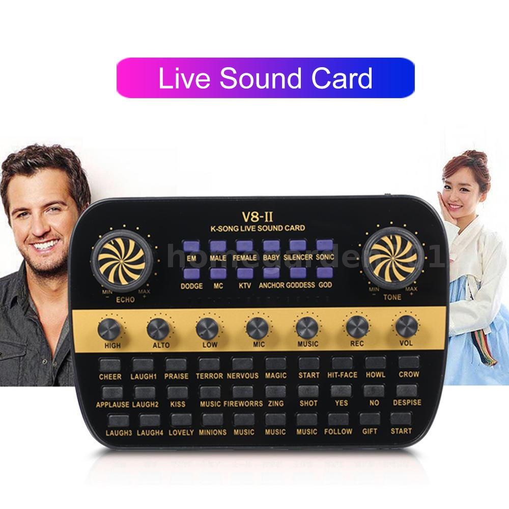 Details about V8 Audio USB Webcast Live Sound Card for Phone Computer  Intelligent Volume B5R3