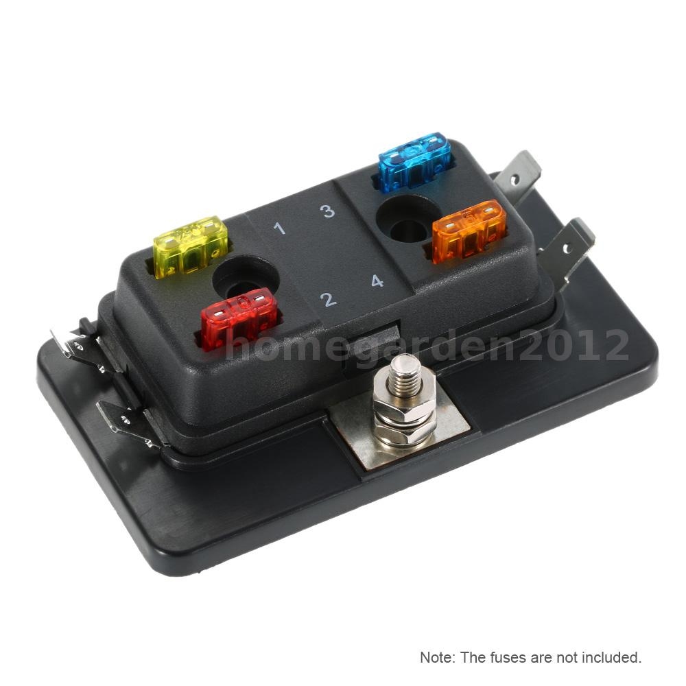 4 way 12v 24v fuse holder box car marine boat circuit