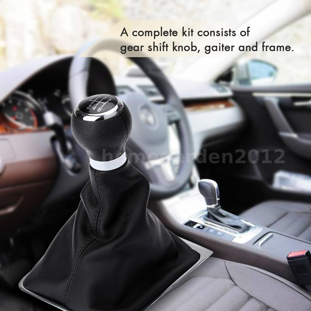 6 Speed Gear Stick Shift Knob Boot Gaiter Frame For VW