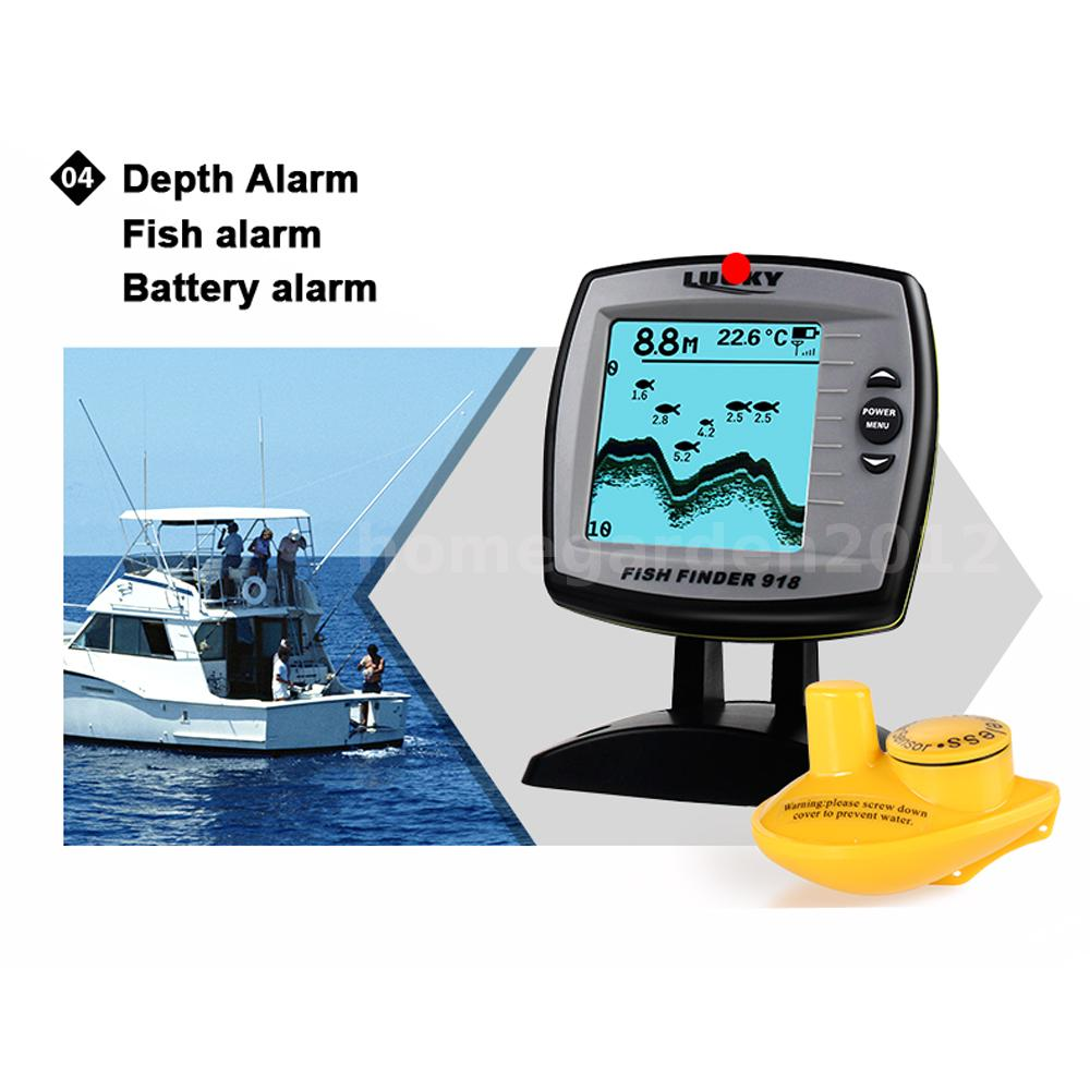 Lcd fish finder wireless sonar depth 125khz alarm detector for Used fish finders